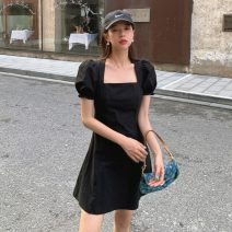 Dress Spring 2021 Decor, black S,M,L Middle-skirt singleton  Short sleeve commute square neck High waist Solid color A-line skirt puff sleeve Others Type A bow 51% (inclusive) - 70% (inclusive) other