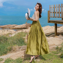 Dress Spring 2021 Picture color S,M,L Mid length dress Three piece set Sweet V-neck High waist Solid color camisole Type A Bohemia