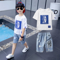 suit Annie Tiantian White red blue yellow 110cm 120cm 130cm 140cm 150cm 160cm male summer leisure time Short sleeve + pants 2 pieces Thin money There are models in the real shooting Socket nothing other other children Giving presents at school TZ1925 Class C Summer 2021 Chinese Mainland Huzhou City
