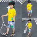 suit Annie Tiantian White yellow 110cm 120cm 130cm 140cm 150cm 160cm male summer leisure time Short sleeve + pants 2 pieces Thin money There are models in the real shooting Socket nothing Cartoon animation other children Learning reward Class C Cotton 95% polyurethane elastic fiber (spandex) 5%