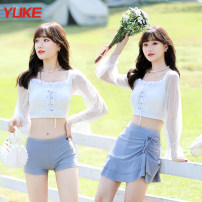 Split swimsuit Yuke Pink white M (recommended weight 88-100jin, height 158-163cm) l (recommended weight 100-118jin, height 163-168cm) XL (recommended weight 118-128jin, height 168-173cm) Skirt split swimsuit With chest pad without steel support 8113 women's swimsuit-1 Autumn 2020 no female Crew neck