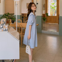 Dress Summer 2021 wathet S,M,L Middle-skirt singleton  Short sleeve square neck lattice Single breasted A-line skirt puff sleeve straps Type H More than 95% cotton