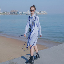 Dress Spring 2021 blue S,M,L,XL longuette singleton  Long sleeves Polo collar Loose waist Solid color Single breasted A-line skirt routine 18-24 years old Type A Button cotton