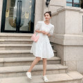 Dress Summer 2021 white S,M,L Mid length dress singleton  Short sleeve commute Crew neck High waist Solid color Socket A-line skirt puff sleeve Type A Korean version 31% (inclusive) - 50% (inclusive) cotton