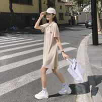 Dress Summer 2021 Apricot, purple, bean green S,M,L Mid length dress singleton  Long sleeves Polo collar Loose waist Solid color Single breasted A-line skirt raglan sleeve 18-24 years old Type A Button 81% (inclusive) - 90% (inclusive) cotton