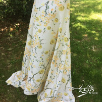 Fabric / fabric / handmade DIY fabric chemical fiber Light yellow Loose shear piece Plants and flowers jacquard weave clothing Countryside Red embroidery 0616ff