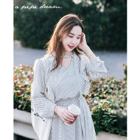 Dress Spring 2020 M, L longuette singleton  Long sleeves V-neck High waist Dot zipper other Hanging neck style Type H Other / other More than 95% other polyester fiber