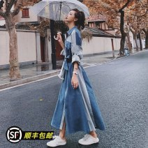 Dress Spring 2021 S,M,L,XL longuette singleton  Long sleeves commute Polo collar Loose waist Solid color Single breasted Big swing routine 25-29 years old Type A Korean version Splicing