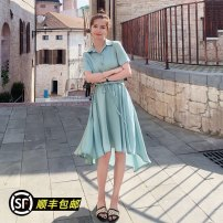 Dress Summer 2020 Clear water blue S,M,L,XL Mid length dress singleton  Short sleeve commute Polo collar High waist Solid color Socket Irregular skirt routine 18-24 years old Type H Korean version 234-2077