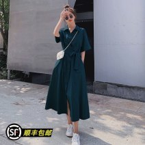 Dress Summer 2021 S,M,L,XL longuette singleton  Short sleeve commute Polo collar Loose waist Solid color Single breasted Big swing routine 25-29 years old Type A Korean version