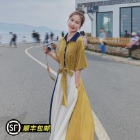Dress Summer 2021 yellow S,M,L,XL longuette singleton  elbow sleeve commute Polo collar middle-waisted Single breasted Big swing routine 25-29 years old Type X Korean version Lace up, stitching 217-2582