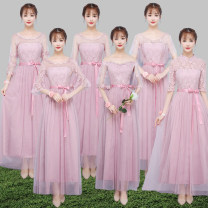 Dress / evening wear Wedding, adulthood, party, company annual meeting, performance, routine, appointment Average size (85-105 kg), large size (105-130 kg), plus size (130-155 kg), plus size (155-180 kg) Korean version longuette middle-waisted Summer of 2018 other One shoulder zipper Mesh + Lace