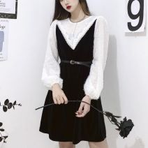 Dress Spring 2021 black M,L,XL,2XL,3XL,4XL Short skirt singleton  Long sleeves commute Crew neck Loose waist Solid color other A-line skirt Princess sleeve Others 25-29 years old Type A lady Stitching, lace 31% (inclusive) - 50% (inclusive) other other