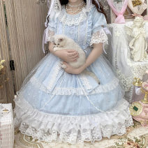 Dress Spring 2021 wathet S,M,L longuette singleton  Short sleeve Sweet Crew neck High waist stripe other Princess Dress routine Others 18-24 years old Type A Lace, lace, lace, lace, lace, lace Star song op 71% (inclusive) - 80% (inclusive) Chiffon other Lolita