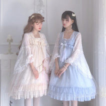 Dress Spring 2021 Light blue, generative color S,M,L longuette singleton  Long sleeves Sweet other High waist other other Big swing other Others 18-24 years old Type A Lotus leaf edge Duanxiaxing 91% (inclusive) - 95% (inclusive) Chiffon other Lolita