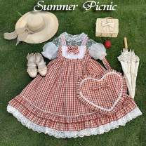 Dress Summer of 2019 Yellow, red, light blue, hair band, bag S, M longuette Two piece set Sleeveless Sweet other High waist lattice other Big swing routine camisole 18-24 years old Bows, lace Summer picnic jsk 91% (inclusive) - 95% (inclusive) other cotton Lolita