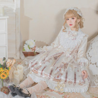 Dress Spring 2021 S,M,L longuette singleton  Long sleeves Sweet Crew neck middle-waisted other other Big swing routine Others 18-24 years old Type A Bows, lace, prints 51% (inclusive) - 70% (inclusive) Silk and satin cotton Lolita