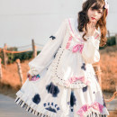 Dress Spring 2021 S,L Middle-skirt Two piece set Long sleeves Sweet other High waist Animal pattern zipper Big swing puff sleeve Others 18-24 years old Type A Ruffles, stitching, printing 51% (inclusive) - 70% (inclusive) other other Lolita