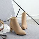 Boots PU Qianbailin High heel (5-8cm) Thick heel PU Short tube Round head Artificial short plush Artificial short plush Autumn of 2019 Side zipper solar system rubber Solid color Chelsea boots Adhesive shoes Artificial short plush Youth (18-40 years old), middle age (40-60 years old) Frosting