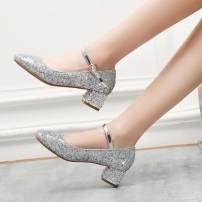 Low top shoes Qianbailin Square head PU Thick heel Low heel (1-3cm) Shallow mouth PU Spring of 2019 Flat buckle sexy Adhesive shoes Youth (18-40 years old), children (under 18 years old) Solid color TPR (tendon) Single shoes PU wedding banquet
