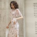 cheongsam Autumn of 2019 XXL,S,M,L,XL Feather clothes, leave the war, gentle, rain, summer solstice Short sleeve long cheongsam grace High slit daily Oblique lapel Broken flowers 25-35 years old Piping Miss four