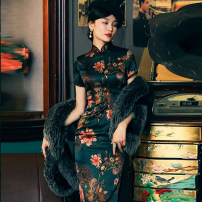 cheongsam Spring 2020 S,M,L,XL,XXL,XXXL Short sleeve long cheongsam grace High slit daily Oblique lapel Decor 25-35 years old Piping Miss four silk 91% (inclusive) - 95% (inclusive)