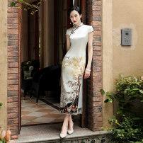 cheongsam Summer 2020 S,M,L,XL,XXL,XXXL Short sleeve long cheongsam Retro High slit daily Oblique lapel Decor 25-35 years old Piping Miss four silk 91% (inclusive) - 95% (inclusive)