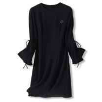 Dress Autumn 2020 black S,M,L,XL,2XL Mid length dress singleton  Long sleeves Crew neck High waist Solid color Socket A-line skirt pagoda sleeve Others Type A More than 95% other other