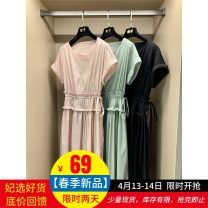 Dress Summer 2021 Green, black, pink S, M Mid length dress singleton  Short sleeve commute Crew neck High waist Solid color A-line skirt routine Others 25-29 years old Type A Korean version Bow, tuck, lace up FZ91668 51% (inclusive) - 70% (inclusive) polyester fiber