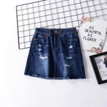 skirt Summer of 2018 1,3,5,7,9,11,13,15,17 Dark blue, light blue Middle-skirt Versatile Natural waist A-line skirt Denim cotton