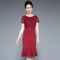 Middle aged and old women's wear Summer 2020 Red, purple M,L,XL,XXL,XXXL,4XL noble Dress Self cultivation singleton  thin Crew neck routine zipper Middle-skirt skirt