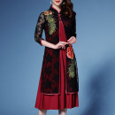 Middle aged and old women's wear Spring of 2019 Black (with black interior), black (with red interior), red (with red interior), red (with black interior) M,L,XL,XXL,3XL,4XL,5XL ethnic style suit Self cultivation Two piece set Decor Socket thin other Medium length routine Embroidery Lace