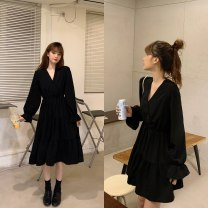 Dress Autumn 2020 Black long, black short M [85-100 Jin], l [100-120 Jin], XL [120-140 Jin], 2XL [140-160 Jin], 3XL [160-180 Jin], 4XL [180-200 Jin] longuette singleton  Long sleeves commute V-neck High waist Solid color Socket A-line skirt routine 25-29 years old Type A Retro Chiffon