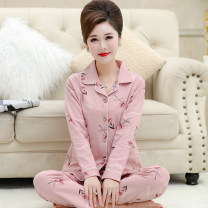 Pajamas / housewear set female Other / other S size (70-85 Jin), M size (80-100 Jin), L size (100-120 Jin), XL SIZE (120-140 Jin), XXL size (140-160 Jin), XXXL size (160-180 Jin), 4XL size (180-200 Jin). You can give me a small gift when you take photos cotton Long sleeves luxurious pajamas spring