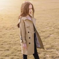Plain coat Other / other female 110cm,120cm,130cm,140cm,150cm,160cm Shenzhen card main drawing spring and autumn Korean version double-breasted There are models in the real shooting Detachable cap Solid color blending other Class B