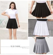skirt Spring 2021 White, gray, black Short skirt Versatile High waist A-line skirt Solid color Type A 18-24 years old other