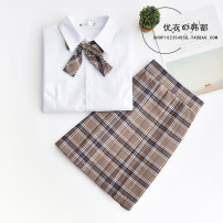student uniforms Winter of 2019, summer of 2020, spring of 2020 S,M,L,XL,XXL Short sleeve solar system skirt 18-25 years old pure cotton Plaid skirt