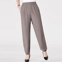 Casual pants Dark grey, black, khaki, brick red XL,2XL,3XL,4XL Summer 2020 Ninth pants Knickerbockers High waist Versatile Thin money 40-49 years old 51% (inclusive) - 70% (inclusive) CFJ-8242 CFJ-8242 Cotton blended fabric pocket cotton