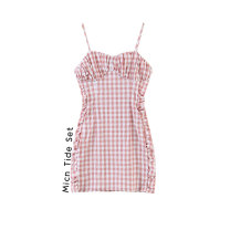 Dress Spring 2021 As shown in the picture S,M,L Short skirt singleton  Sleeveless commute V-neck High waist lattice Socket A-line skirt routine camisole Type A MICN Retro backless More than 95% polyester fiber
