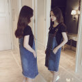 Women's large Summer 2020 Blue suit, one piece denim skirt M [suggested 80-105 kg], l [suggested 105-120 kg], XL [suggested 120-130 kg], 2XL [suggested 130-148 kg], 3XL [suggested 148-165 kg, 4XL [suggested 165-180 kg], 5XL [suggested 180-210 kg] Dress Two piece set commute easy moderate Short sleeve