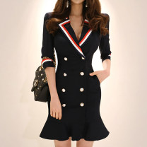 Dress Spring 2020 Navy Blue S,M,L,XL Short skirt singleton  three quarter sleeve commute tailored collar High waist Solid color double-breasted Ruffle Skirt routine 25-29 years old Type H Other / other Ol style Ruffles, stitching, buttons A193