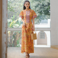 Dress Summer 2021 Red, yellow S,M,L,XL longuette singleton  Short sleeve commute stand collar High waist Decor Socket Big swing other Others 18-24 years old Type A ethnic style 31% (inclusive) - 50% (inclusive) other polyester fiber