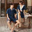Pajamas / housewear set lovers Princess mark M,L,XL,XXL,XXXL M1518 blue couple women's nightdress, m91518 blue couple men's suit cotton Short sleeve Sweet pajamas summer Thin money V-neck Solid color shorts Tether youth 2 pieces rubber string More than 95% pure cotton lace 220g Middle-skirt