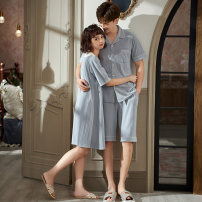 Pajamas / housewear set lovers Princess mark M,L,XL,XXL,XXXL M1514 blue couple women's nightdress, m91514 blue couple men's suit cotton Short sleeve Sweet pajamas summer Thin money V-neck Solid color shorts Tether youth 2 pieces rubber string More than 95% pure cotton lace 220g Middle-skirt