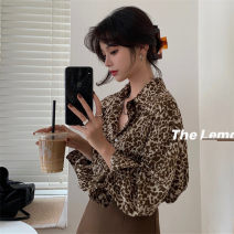 shirt Grey, brown Average size Spring 2021 polyester fiber 81% (inclusive) - 90% (inclusive) Long sleeves commute Regular Polo collar Single row multi button routine stripe 25-29 years old Straight cylinder Korean version polyester cotton