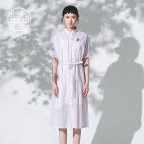 Dress Summer 2020 Light powder S M L XL longuette singleton  Short sleeve commute Polo collar Loose waist stripe Single breasted other routine Others 25-29 years old Nonfish / non fish literature NFGXL1036 More than 95% other cotton Cotton 100% Same model in shopping mall (sold online and offline)