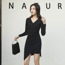 Dress Winter 2020 Black long sleeve dark grey Long Sleeve Black Short Sleeve dark grey short sleeve light grey short sleeve S M L XL Mid length dress singleton  Long sleeves commute V-neck High waist Solid color Socket Pencil skirt routine Others 18-24 years old Type X Silver Simplicity