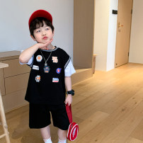 suit Captain Kiki Black, white 90cm,100cm,110cm,120cm,130cm,140cm,150cm male summer Korean version Short sleeve + pants 2 pieces routine There are models in the real shooting Socket nothing Solid color cotton Giving presents at school X21432 Class B Cotton 100% Chinese Mainland
