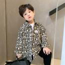 shirt Off white, blue Captain Kiki male 90cm,100cm,110cm,120cm,130cm,140cm,150cm spring and autumn Long sleeves Korean version Broken flowers cotton Lapel crew neck Cotton 100% Class B