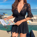 one piece  Shumanhai swimsuit M,L,XL black Skirt one piece Steel strap breast pad Nylon, spandex No reason to return within 15 days female Short sleeve Casual swimsuit